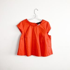 Eloquii | structured cap sleeve blouse orange red